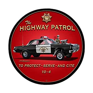 Highway patrol metal sign wall decor 28 x 28 for Home decor on highway 6