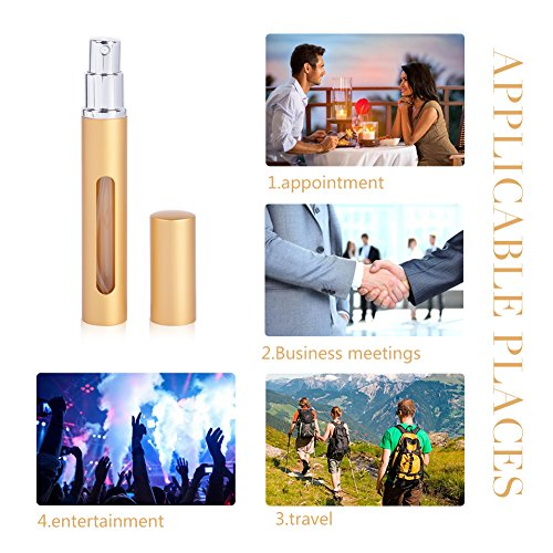 Perfume Spray Bottle Atomizer, Refillable Empty Fine Mist 5ML Mini Spray Bottle for Essential Oils, Travel Perfumes - Refillable Perfume Atomizer Bottle with Pumps, 7 Bottles and 2 Sliver Funnels by MUB (Image #3)