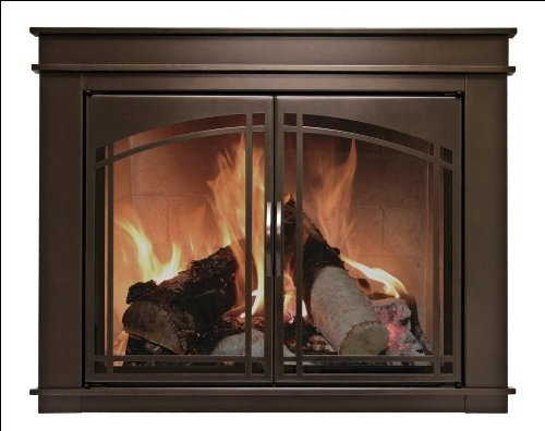 Pleasant Hearth FN-5701 Fenwick Fireplace Glass Door, Oil Rubbed Bronze, Medium (Glass Prairie Fire)