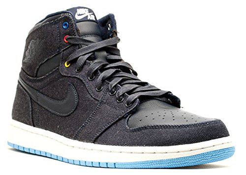 NIKE Mens Air Jordan 1 Retro High Fathers Day Obsidian/White-Dk Pwdr Leather