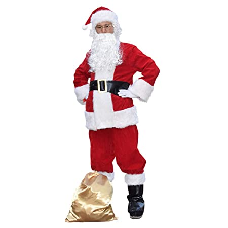 ADULTS 10 PIECE SANTA CLAUS SUIT FATHER CHRISTMAS COSTUME XMAS MENS FANCY DRESS
