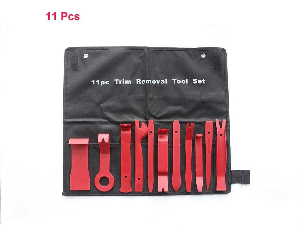 Red Tafeiya 11Pcs Car Trim Removal Door Panel Removal and Moulding Set Kit Pouch Pry Tool Interior DIY