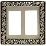 Franklin Brass 64037 Paisley Double Decorator Wall Plate/Switch Plate/Cover, Brushed Satin Pewter