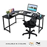"L Shaped Office Computer Desk – 66"" x 49"" Black Laminated Wooden Particleboard Table and Black Powder Coated Steel Frame - Easy Assembly - CPU Stand, Tools and Instructions Included – by Luxxetta"