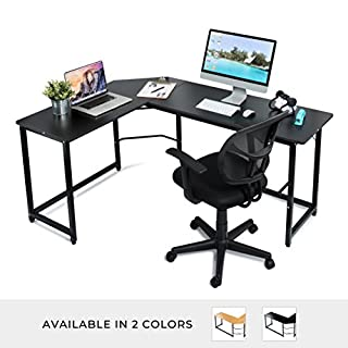 "Modern L Shaped Computer Desk Home Office Corner Desk – 66"" x 49"" Teak Wood Laminated Table and Black Metal Frame - Easy Assembly Tools and Instructions Included"