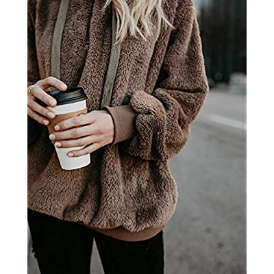 Yanekop Womens Sherpa Pullover Fuzzy Fleece Sweatshirt Oversized Hoodie with Pockets at Women's Clothing store