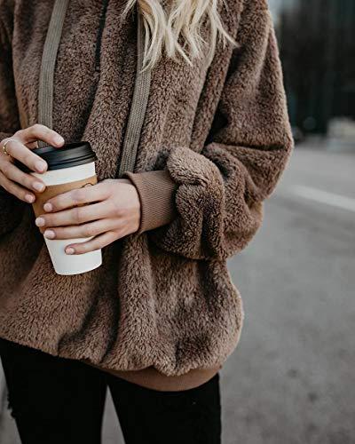 Yanekop Womens Sherpa Pullover Fuzzy Fleece Sweatshirt Oversized Hoodie  Pockets 5a3a14990