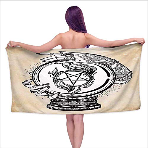 Ball Mickey Crystal - Bensonsve Bath Towel mat Occult,Illustration of Medium Crystal Ball for Mystery with Tattooed Hands Future Psychic,Tan Black,W10 xL39 for Kids Mickey Mouse