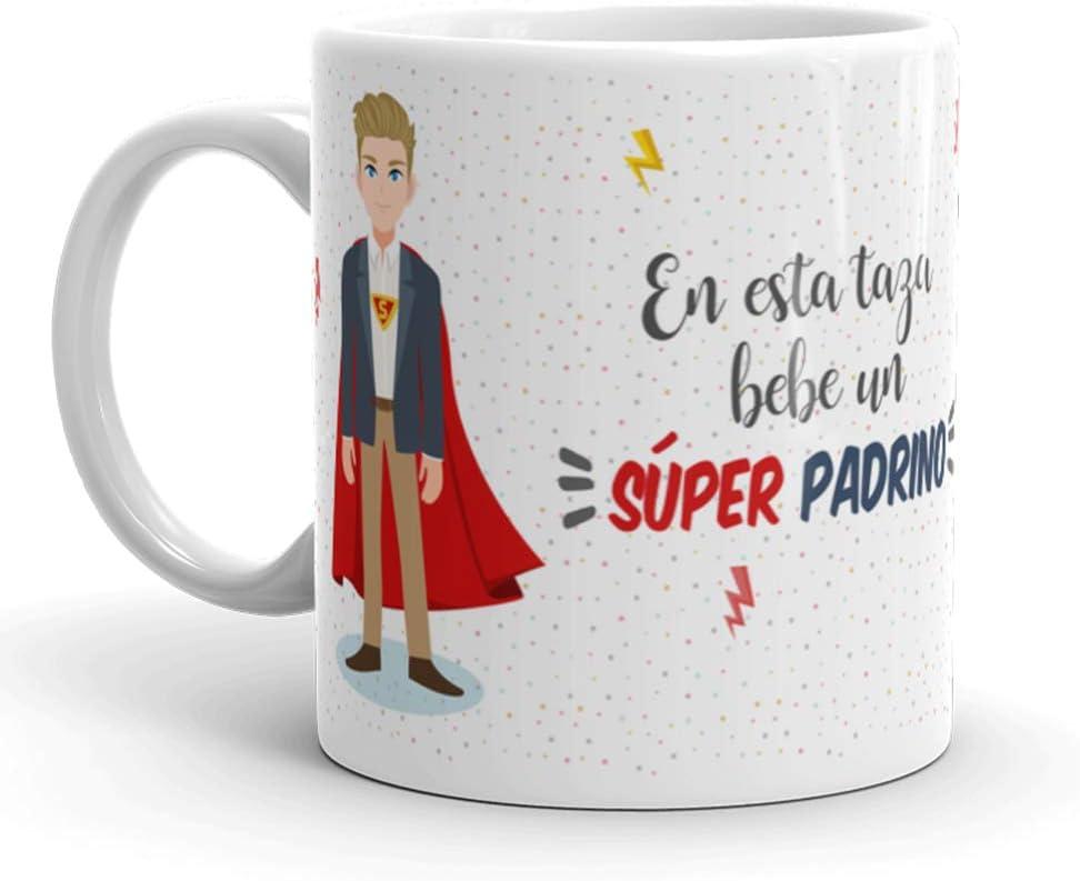 Kembilove Taza de Café para Padrino – Aquí Bebe un Súper Padrino – Taza de Desayuno para Familia – Regalo Original para Cumpleaños, Navidad, Aniversarios – Taza de Cerámica Impresa de 350 ml