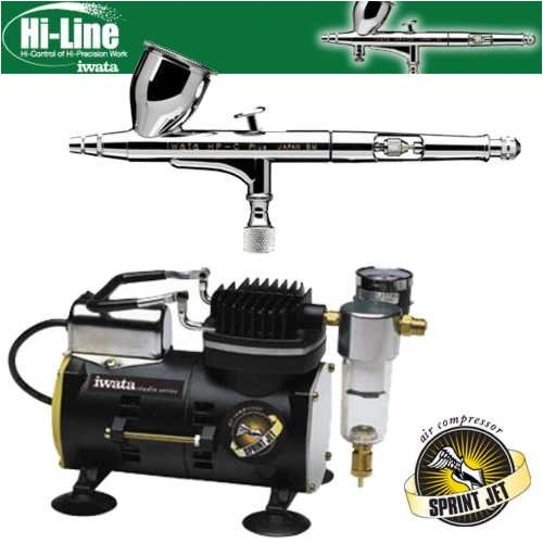 Iwata Sprint Jet Compressor - Iwata High Performance Plus HP-C Plus Airbrushing System with Sprint Jet Air Compressor