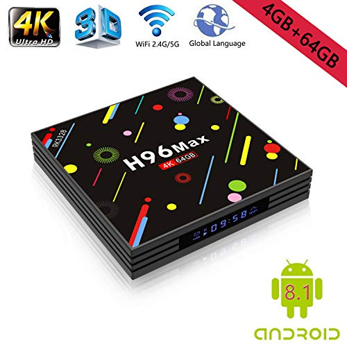 - Android 8.1 4K Smart TV Box 4G+64GB H96 Max Display Screen RK3328 UHD Quad-Core WiFi Ultra HD H.265 Bluetooth