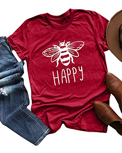 UZZE Womens Summer T Shirts Casual Short Sleeve Bee Happy Letter Print Graphic Cute Tops Tee Red