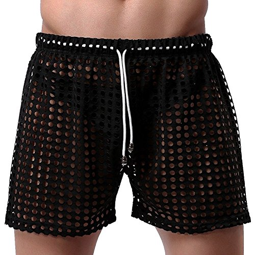Lisli Mens Sexy Hollow Mesh Lingerie Underwear Drawstring Lounge Boxer Briefs Shorts (M, Black)