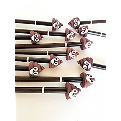 L LIFETIME Poop Emoji Party Favors Supplies- 12 Pack of Pencil Eraser Sharpener Unisex Sets for Tweens Teens Girls Boys Adults Gag Gift Funny Poo Unicorn: Toys & Games