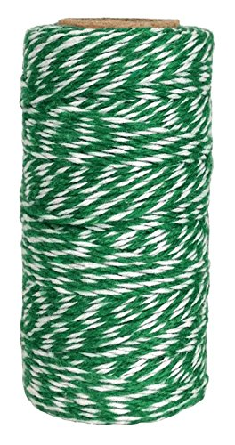 Just Artifacts ECO Bakers Twine 240yd 4Ply Striped Kelly Green - Decorative Bakers Twine for DIY Crafts and Gift Wrapping ()