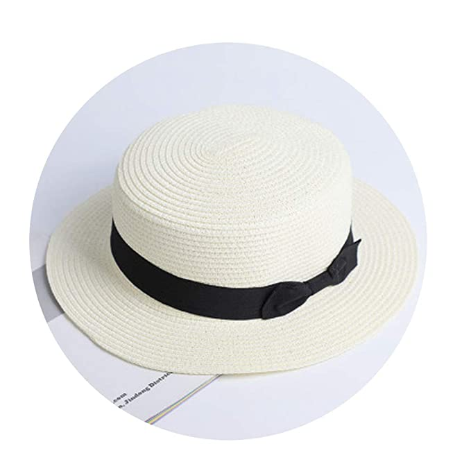 6a1a226765f3d Image Unavailable. Image not available for. Color: CouGoo Lady Boater Sun  Caps Ribbon Round Flat Top Straw Fedora Panama Hat Summer ...