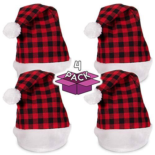 Festive Christmas Plaid Santa Party Hat - Family 4 Pack ()
