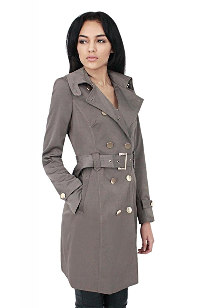 7cb7e462d2725 New Womens Double Breasted Light weight Summer/Spring Mac/Trench COAT  Hooked collar Young teens Ladies LONG JACKET UK SIZES 12 BROWN:  Amazon.co.uk: Clothing