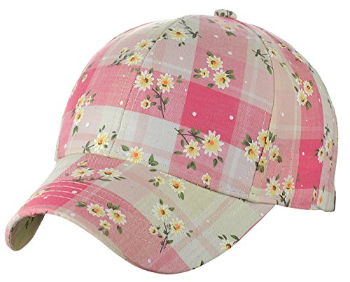Plaid Print Cap - C.C Women's Plaid Daisy Floral All Over Print Adjustable Baseball Cap, Pink