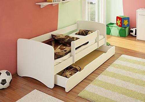 BEST FOR KIDS Kinderbett 90x160 mit Rausfallschutz + Schublade 44 Designs (Weiß)