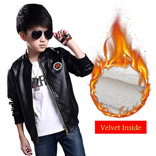 Fairylinks Boys Collar Faux Leather Moto Jacket Full Zips UP 50s Costume Party (50s Costume Kit)