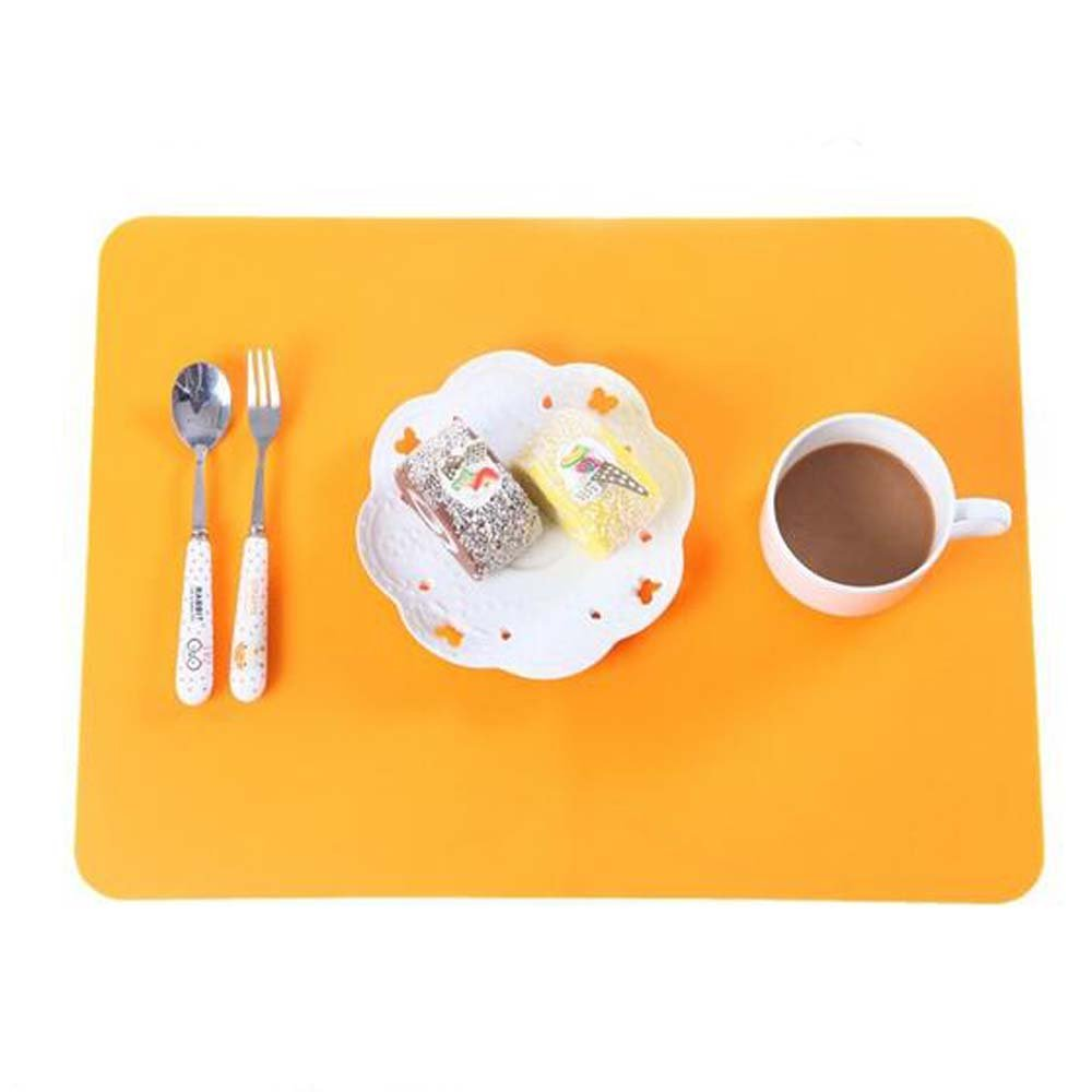 Orange Silicone Student Table Mat, Nonstick Heat Resistant Nonskid Pad, Countertop Protector, Thick Large Baking Oven Counter Children Table Mat Allscarf007
