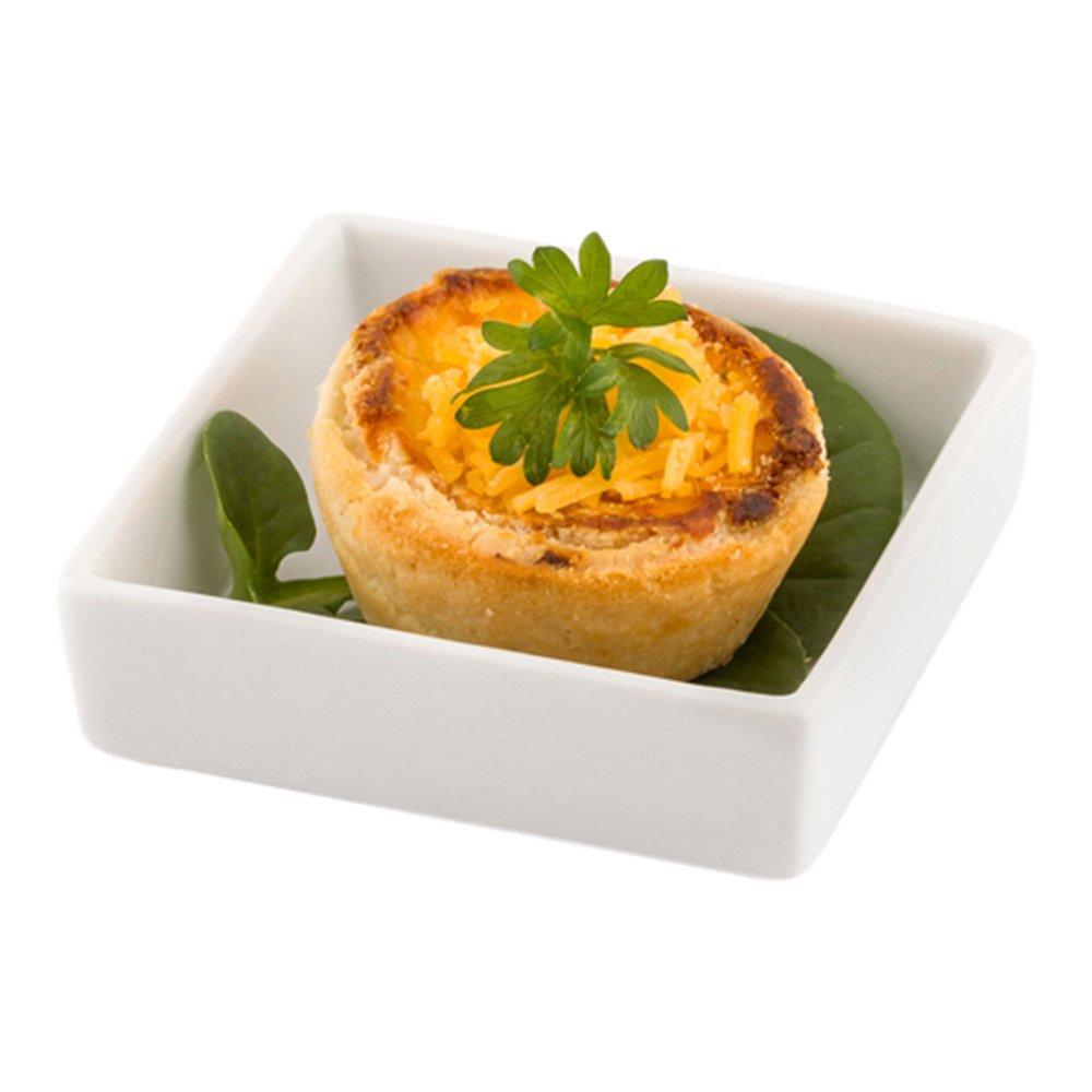 Mini Porcelain Dish - Square Appetizer Dish, Square Dessert Dish - 2.64 Inches - White 10ct Box - Restaurantware