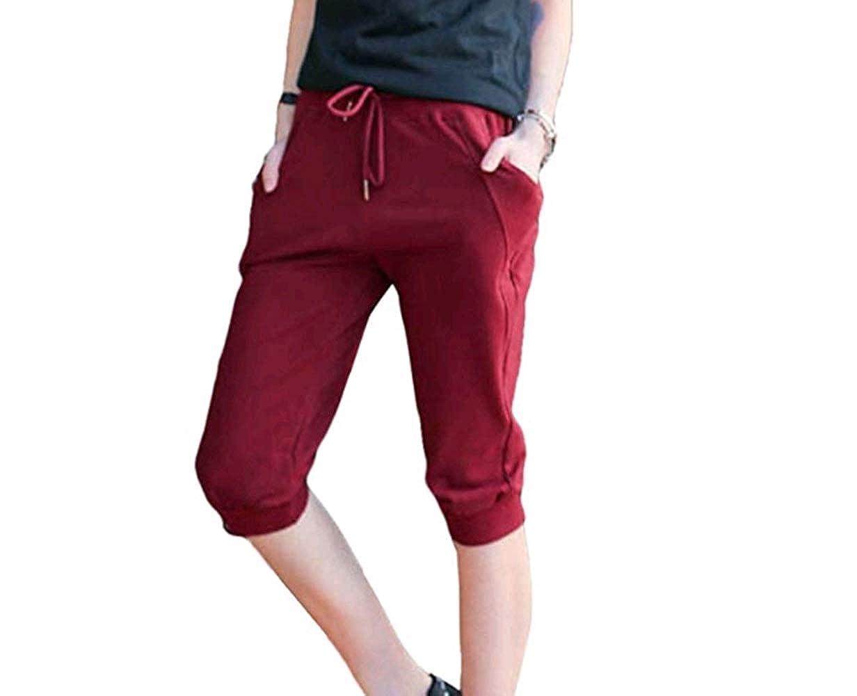 YINJIONG Womens Casual Drawstring Cuffed Cropped Pants Capri Joggers