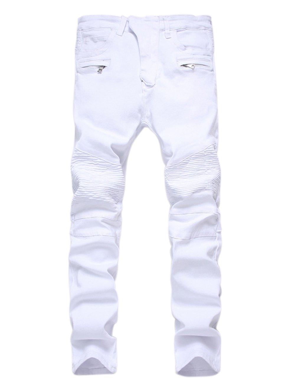 Wenseny Men's Wrinkled Ripped Moto Biker Jeans Zipper Pocket Slim Fit Washed Skinny Pants White W32