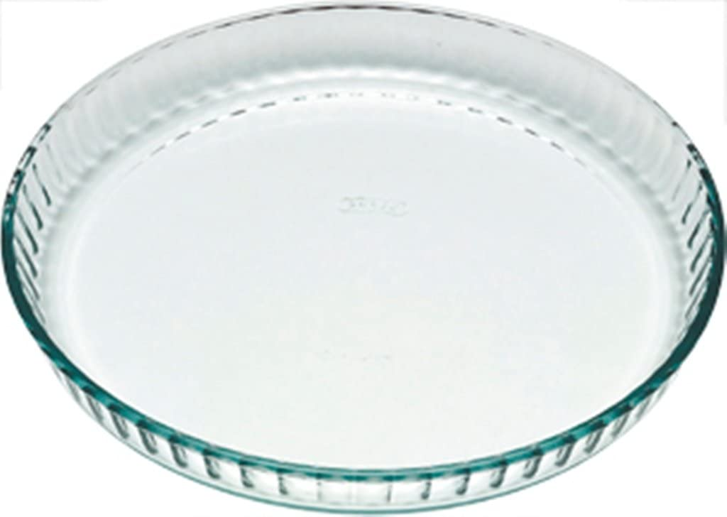 Pyrex Classic Glass Fluted Flan Dish 25cm 1.1L Transparent Scratch Resistant New