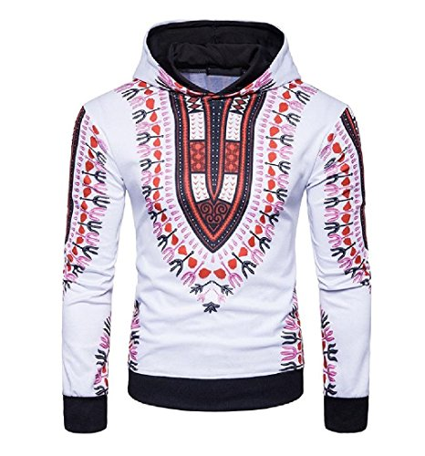 Zimaes-Men Africa Floral Print Personalized Pullover All-match Sweatshirt Red S by Zimaes-Men