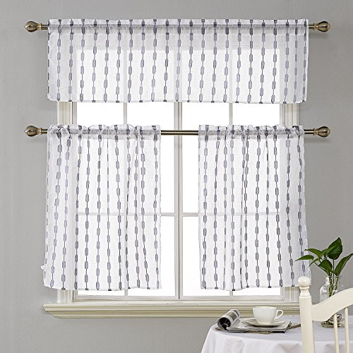 Deconovo Jacquard Solid 3 Pieces Rod Pocket Kitchen Tier Curtains and Valance Set Grey (Jacquard Rod Pocket Curtains)