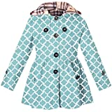 Kids Girls Hooded Trench Dress Coat, Hoodie Jacket for Big Girls, Geometry Print Blue, 10-11 Years=Tag 160