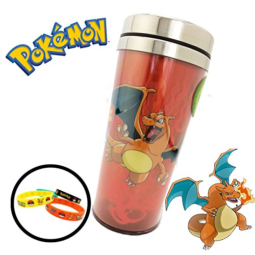 Pokemon (16 oz ounce) (473 mL) Travel Thermos Coffee Mug Cup Lid & 4-Pack Bracelets - Great for Camping Outdoors Office Work Birthday Gift Back to School Backpacks (Charizard) (Charizard Coffee Mug)