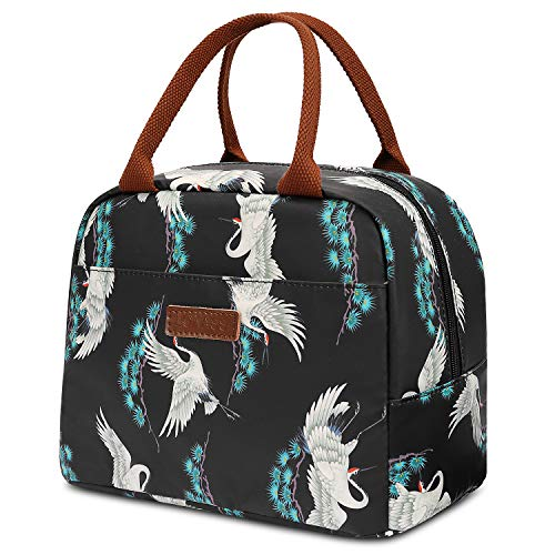 - LOKASS Lunch Bag Cooler Bag Women Tote Bag Insulated Lunch Box Water-resistant Thermal Lunch Bag Soft Liner Lunch Bags for women/Picnic/Boating/Beach/Fishing/Work (Red-crowned crane)