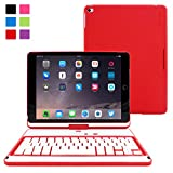 "iPad Air and New iPad 2017 9.7"" Keyboard, Snugg [Red] Wireless Bluetooth Keyboard Case Cover [Lifetime Guarantee] 360° degree Rotatable Keyboard for Apple iPad Air and New iPad 2017 9.7"""
