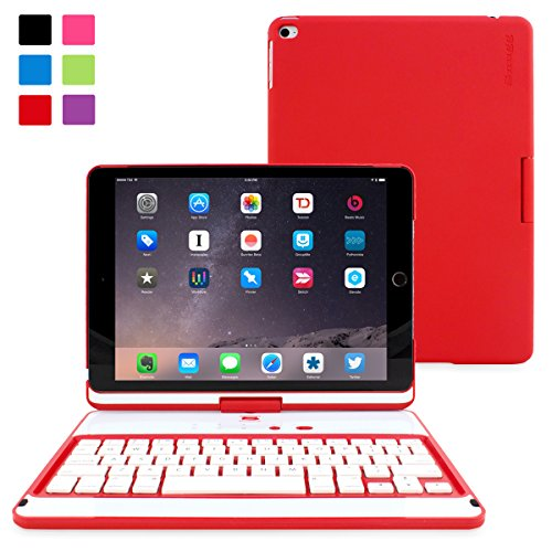 iPad Air and New iPad 2017 9.7' Keyboard, Snugg [Red] Wireless Bluetooth Keyboard Case Cover 360°...