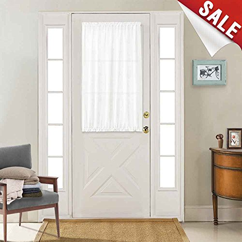 Semi Sheer French Door Curtains Privacy Casual Weave Textured French Door Panel Curtains 40 inches Long, Tieback Included, 1 Piece, White