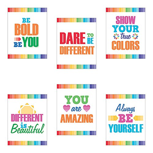 Fun Express - Paint Chip Motivational Posters - Educational - Classroom Decorations - Classroom Decor - 6 Pieces