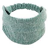 Sport Sweatband Headband, Women Stretch Cotton Knotted Turban Head Warp Hair Band Wide Elastic Yoga Headbands (Mint Green)