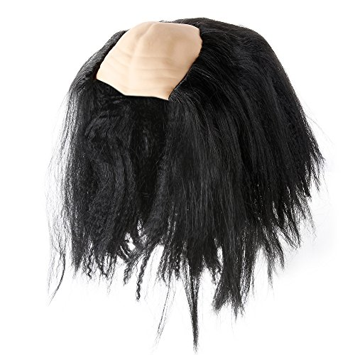 Ben Franklin Wig Tight Benjamin Franklin Costume Easy Wear Bald Cap Old Man Mad Scientist Wig for Kids Halloween Costume (Black) -