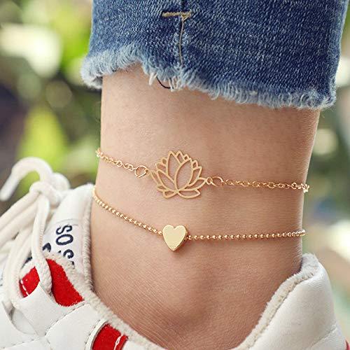Artmiss Lotus Anklet Layered Heart Flower Anklet Bracelet Yoga Inspired Lotus Foot Jewelry Teen Yoga Meditation