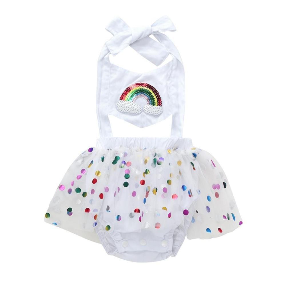 Alalaso Fashion lovely Girl Rainbow Sequins Bowknot Dress Yarn skirt Mini Dress (80)