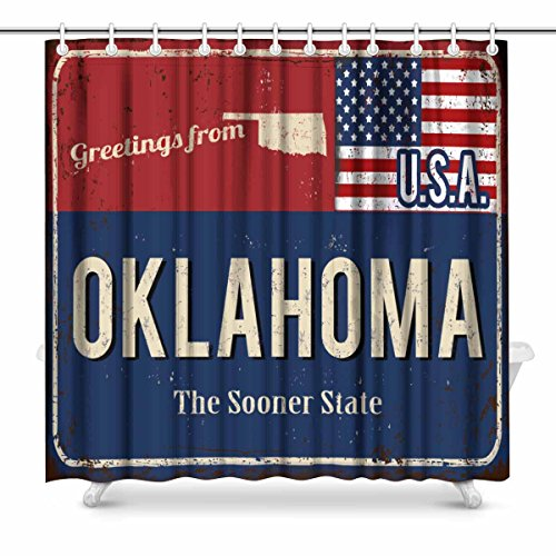 InterestPrint Oklahoma the Sooner State Rusty Metal Sign with American Flag Waterproof Polyester Fabric Shower Curtain Bathroom Sets with Hooks, 72(Wide) x 72(Height) Inches