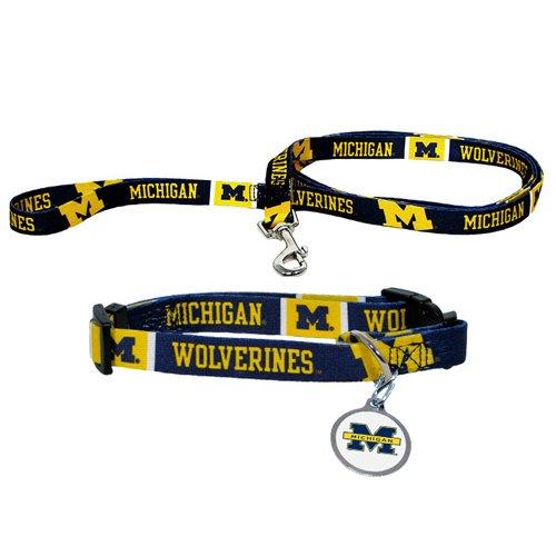 BSS - Michigan Wolverines NCAA Dog Collar & Leash Set (Medium) by Hunter
