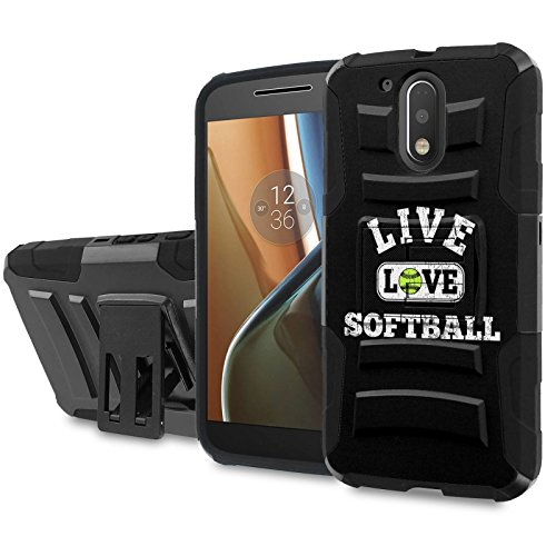 Moto [G4] [G4 Plus] Armor Case [SlickCandy] [Black/Black] Heavy Duty Defender [Holster] - [Live Love SoftBall] for Motorala G [4th Gen] [G4 XT1625] [G4 Plus XT1644] -  SlickCandy for Moto [G4] [G4 Plus], P-MOTOG4-1E6-BKBK-CBT-P018C