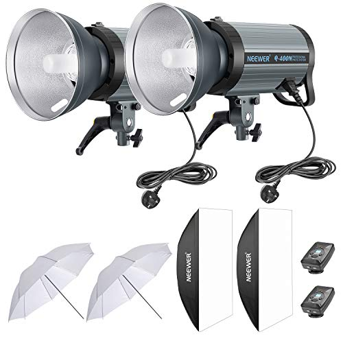 Recycle in 0.01-0.5 Sec Neewer 400W GN65 Studio Flash Strobe Light Monolight with 2.4G Wireless Trigger and Modeling Lamp Bowens Mount for Indoor Studio Portrait Photography Q400N