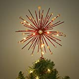 Valery Madelyn 10.8 Inch Pre-Lit luxury Red Christmas Tree Topper, (Small Image)