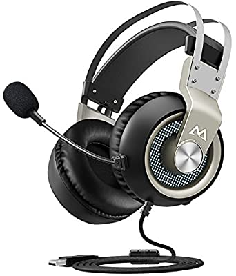 Mpow EG3 Gaming Headset, 7.1 Surround Sound Gaming Headphones, 50mm Driver, Stereo USB Headset with Noise Cancelling Mic, Over Ear Soft Memory Earmuff, LED Light, Easy Volume/Mic Control for PC, PS4