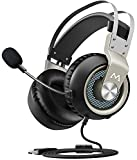 #2: Mpow EG3 Stereo Gaming Headset, 7.1 Surround Sound Audio, Noise Cancelling Over Ear Headphones with Mic, Soft Memory Earmuffs, LED Light, Lightweight USB Headset with Volume/Mic Control for PC, PS4